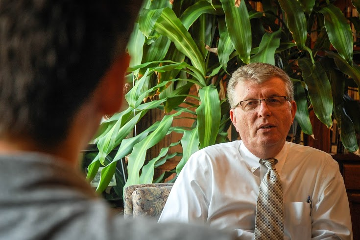 IWU President Dr. David Wright speaks to The Sojourn in this 2013 file photo.