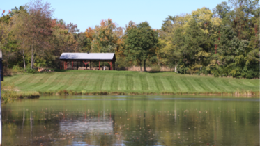 The pavilion and pond at Ketcham Woods. Courtesy of Tyler Huston.