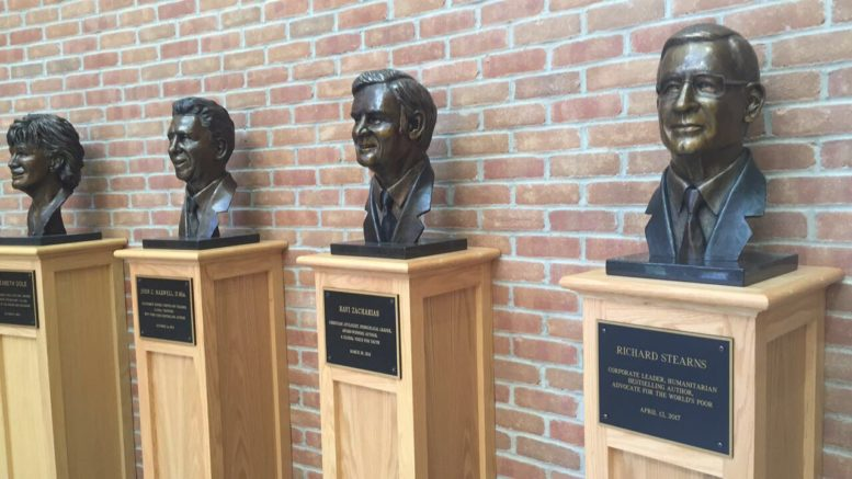 Richard Stearn's bust was added to the Society of World Changers in the lobby of the Jackson Library.
